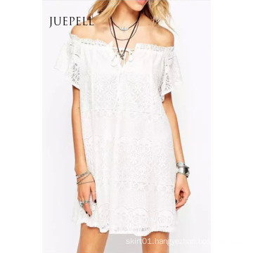 Sweet Lace off Shoulder Swing Women Dress